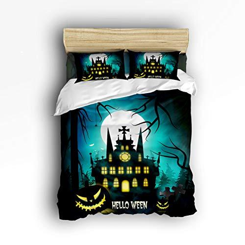 EZON-CH 4 Piece Bed Sheets Set, Halloween Night Horror Castle Pumpkin 1 Flat Sheet 1 Duvet Cover and 2 Pillow Cases Twin