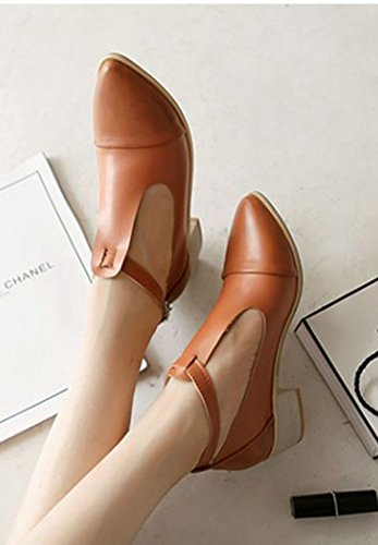 Aisun Womens Vintage T Strap Chunky Mid Heels Pumps Shoes Brown ua9gLlB3b