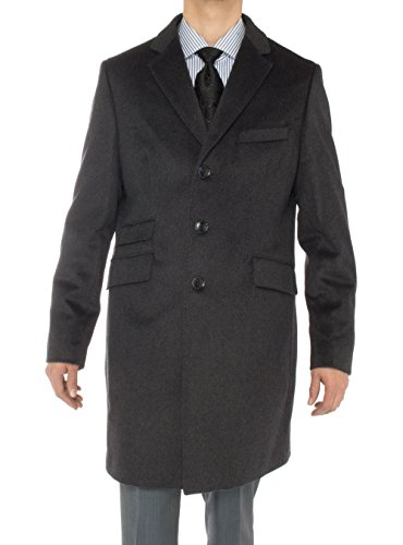Luciano Natazzi Men's Cashmere Topcoat Modern Ticket Pocket Trench Coat Overcoat (42 US - 52 EU, Charcoal Gray) (Wool Breasted Worsted Single Suit)