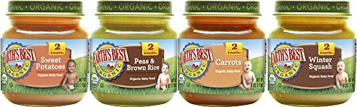 Earth's Best Organic Stage 2 Baby Food, Vegetable Variety Pack, 4 oz. Jar (12 Count) ()