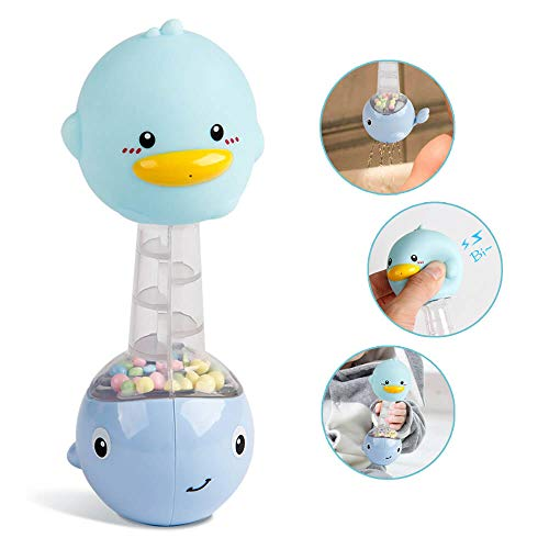 - Mini Tudou Baby Bath Toys Boys, Squirt Rubber Duck, Hand Shaker Rattle 2 in 1 Development Bathtub Toy for Newborn Toddlers (Blue)