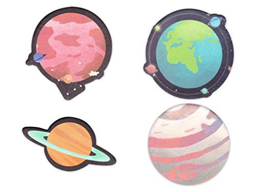 Planet Pack (Planet Shaped Self-Stick Notes, Scratch Pads Match for Planners/Notebook/School/Office Stationery, 4 Pads/Pack, 30 Sheets/Pad (Planet))