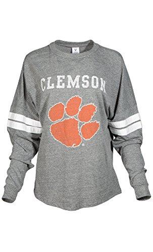 Clemson Tigers Football Jersey - NCAA Clemson Tigers Betty Long Sleeve Tri-Blend Football Jersey T-Shirt, Small, Tri Grey/White