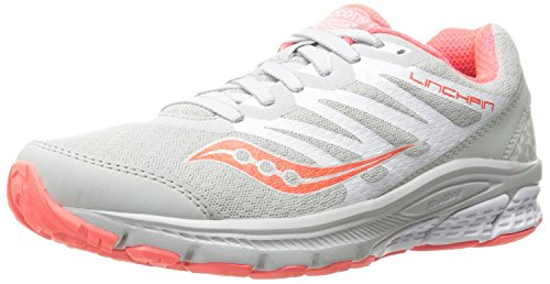 Saucony Womens Powergrid Linchpin Running Shoe, Gris/Coral, 40 B(M) EU/6.5 B(M) UK