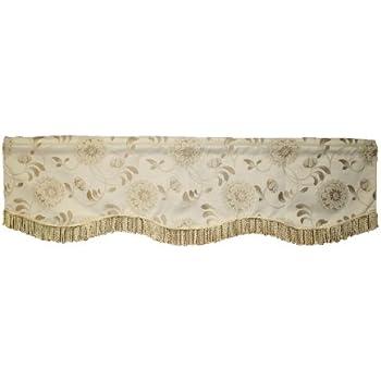 Gold//Silver 60 x 15 SIGNTR VAL Violet Linen Signature Jacquard Lily Design Window Valance 60 x 15