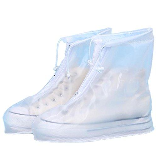 OverDose Frauen Unisex Wasserdichte Regenschuhe Wiederverwendbare Stiefel Rutschfest Rain Shoes Slip Resistant Boots Weiß