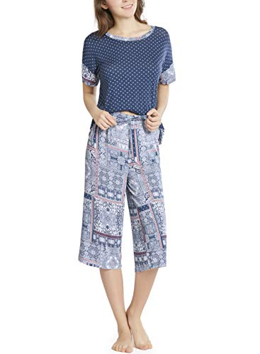Pajamas Charm Print - Summer Pajamas for Women - Stylish Print Ladies Pajama Set, Oversized Shirt Capri Lounge Pants, Bedouin Patch XXL