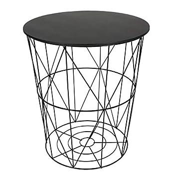 Design Beistelltisch Schwarz Metall Drahtkorb Mit Sitzdeckel