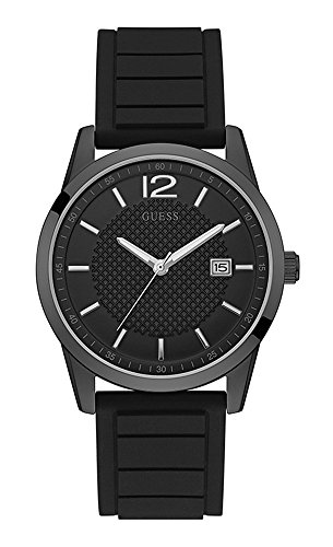 Guess Perry Black Dial Silicone Strap Men's Watch W0991G3