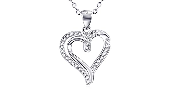 CS-DB Pendants Necklaces Silver Double Love Heart Crystal CZ Jewelry Girls