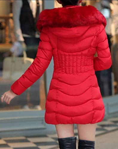 Hoodie Coat 1 Stylish Fur Parka Faux Women's Quilted EKU Cotton Down UzP6tt
