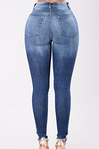 Strappata Denim Le Vita Alta Jeans Rose Ricamati Blue1 Attillati Donne Yacun xqRfwY6n