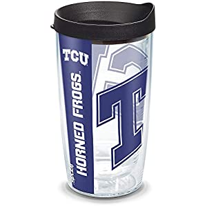 Tervis Texas Christian University Colossal Wrap Individual Tumbler with Black Lid, 16 oz, Clear