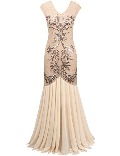 PrettyGuide Women 1920s Black Sequin Flapper Maxi Long Gown Formal Evening Dress M Champagne