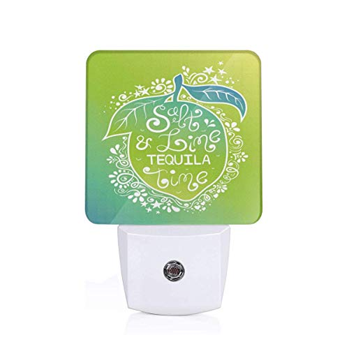 (Colorful Plug in Night,Green Tones Vibrant Ombre Design Salt Lime and Tequila Lettering On Flourish Lemon,Auto Sensor LED Dusk to Dawn Night Light Plug in Indoor for Childs Adults)