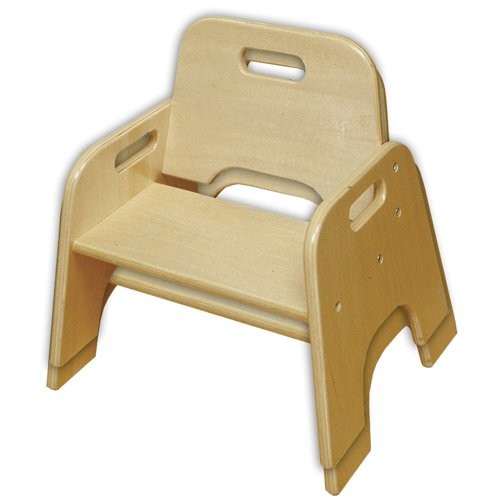 "ECR4Kids 6"" Stackable Wooden Toddler Chair, Natural (2-Pack)"