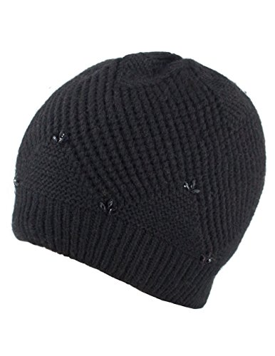 Dahlia Women's Angora Blend Beaded Slouch Beanie Winter Hat Dual Layer, Black