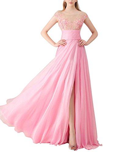 Soir En Mousseline De Soie Fendue Femmes Dreamdress Robe De Bal Rose Partie Pure De