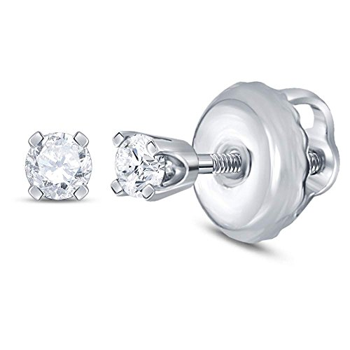 14kt White Gold Girls Infant Round Diamond Solitaire Screwback Earrings 1/20 Cttw (I2-I3 clarity; I-J (Babys 14kt Gold Birthstone Ring)