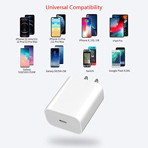 DWH 2-Port Fast Charger with 18W USB C Power Adapter, USB C Charger, Compact Type C Wall Charger for iPhone 12/12mini/12Pro/12ProMax/11/11Pro/11 Pro Max/SE/Xs Max/XR/X/ 8 Plus (18w Charger 1 Port)