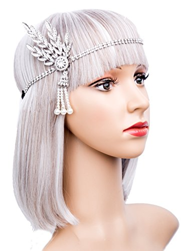 Kathyclassic Art Deco 1920's Great Gatsby Inspired Leaf Medallion Pearl Headpiece Headband (Dresses From Great Gatsby)
