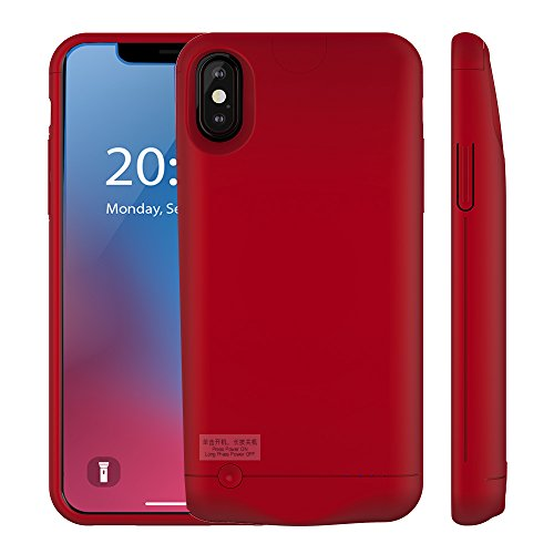GOOINV iPhone X Battery Case,5200mAh Enhance Extended Rechargeable Portable Charging Cover Case for iPhone X,iphone10(5.8 inch) (Red)