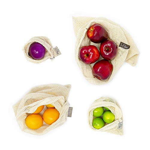 Reusable Produce Bags | Set of 10 Cotton Mesh Bags + Carrying Bag | Color coded labels with tare weight | All-Natural, ecological, durable, washable, and biodegradable bags for Fruits and Vegetables