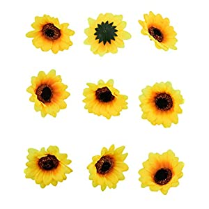 """HUIANER 100PCS Artificial Sunflower Heads, 2.8"""" Fake Simulation Sunflower Head for Wedding Home Party Cake Decoration 3"""
