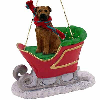 Bullmastiff Sleigh Ride Christmas Ornament - DELIGHTFUL!