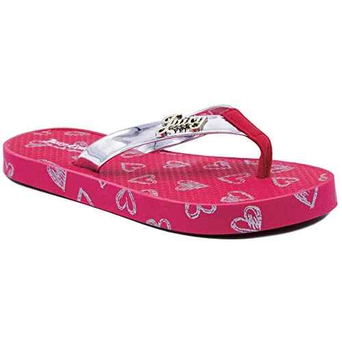 Girls Heart Juicy Couture - Juicy Couture JC Palmdale Kids Girls Fashion Thong Summer Flats Pink/Silver Heart 4 Big Kid
