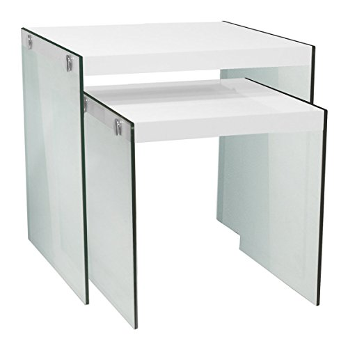 Monarch Specialties I 3287,Nesting Table, Tempered Glass, Glossy White - White Glossy Glass