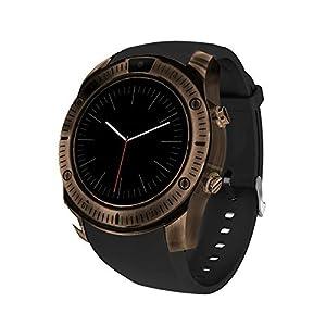 Burberrya Reloj Inteligente con Bluetooth, Retro Dial Sleep Monitoring Podómetro Pulsera Inteligente para iPhone Android Teléfono Soporte SIM TF Tarjeta Pulsera Inteligente Mejor Regalo,Brass