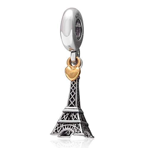 The Paris Eiffel Tower Charm with Golden Heart Authentic 925 sterling silver for European ()
