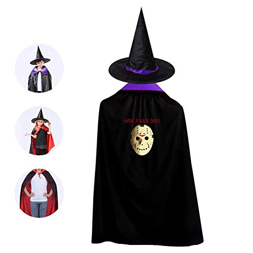 Have A Nice Day Ja-Son Halloween Costumes Witch Wizard Cloak With Hat For Christmas Halloween Cosplay Boys Girls Purple ()