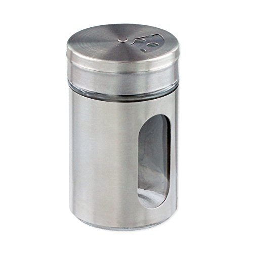 Femitu Stainless Steel-Over-Glass Spice Jar with 3-Size Shaker Top - Spices, Herbs, Seasonings by Femitu - Glass Jar Stainless Steel Top