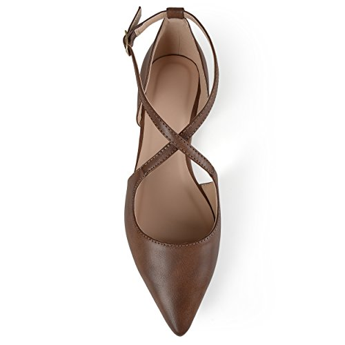 Pointed Flats Brown Toe Journee Collection Crossover Womens Journee Collection zXqIU