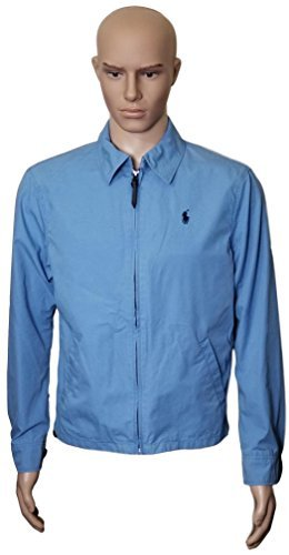 Polo Ralph Lauren Mens Landon Cotton Poplin Windbreaker Jacket, Light Blue, L