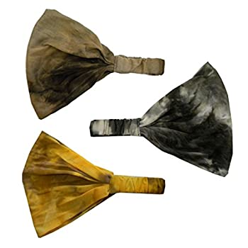 Set of 3 Cotton Tie Dye Wide & Stretchy Headwrap - Black Brown Mustard
