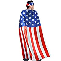 D.Q.Z USA American-Flag Cape for Adults with Bandana Headband Costume Accessory