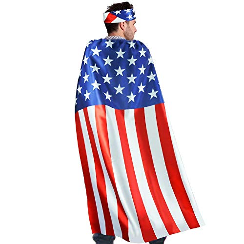 D.Q.Z USA American-Flag Cape for Adults with Bandana Headband Costume Accessory -