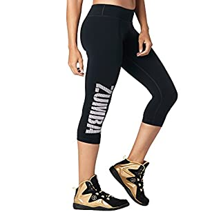 Zumba Dance Fitness Compression Pants Workout Print Capri Leggings for Women, Bold Black 8, XS