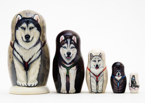 Alaskan Dog Sled Russian Nesting Doll 5pc./6""