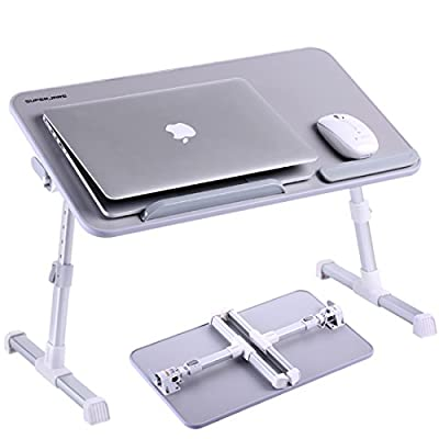 Adjustable Laptop Desk, Superjare Portable Standing Desk, Notebook Stand Reading Holder For Couch Floor, Bed Tray Table with Foldable Legs