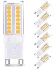 Bombilla LED G9 de 5W Equivalente a 40W Lampara Halogenos, 3000K Lámparas LED Blancas Cálidas, 400LM, No regulable, Sin parpadeo, Sin Estroboscópico, 360 Grados, iluminación del hogar, paquete de 6