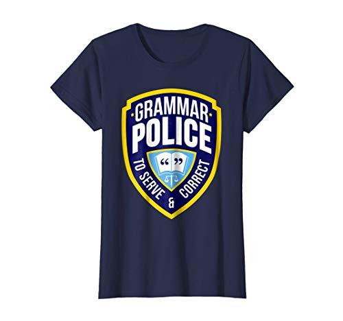 Womens English Grammar Police Funny Sarcasm Quotes Literary T-shirt Medium Navy
