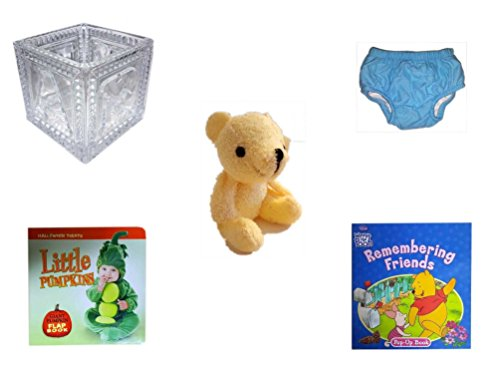 Children's Gift Bundle - Ages 0-2 [5 Piece] Includes: B-A-B-Y Block Container Heavy Glass, Circo Infant Reusable Swim Diaper Blue Size S 6 Months 13-18 lbs, Soft n' Cuddly Bear, Little Pumpkins Gian by Secure-Order-Marketplace Gift Bundles