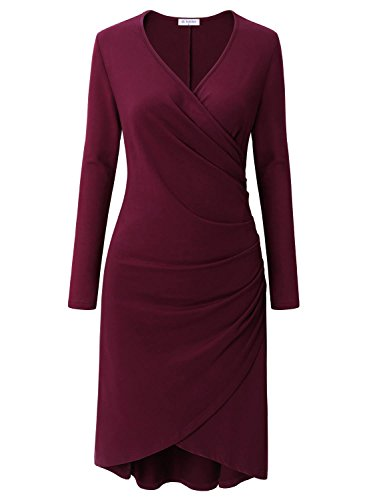 Bulotus Women's V-Neck Winter Fall Outfit Shirring Side Wrap Bodycon Dress Maroon M