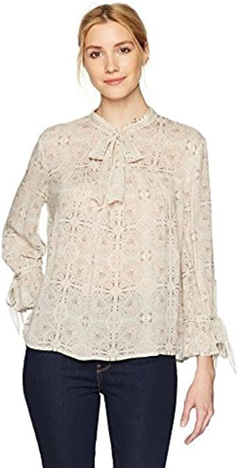 Lucky Brand Womens Printed Peasant Top
