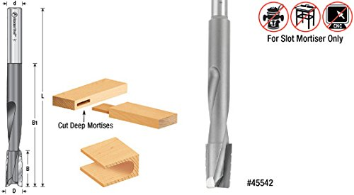 Amana Tool 45542 Carbide Tipped Up-Shear Bit Slot Mortiser 5/8 D x 1 Inch CH x 1/2 SHK Router Bit