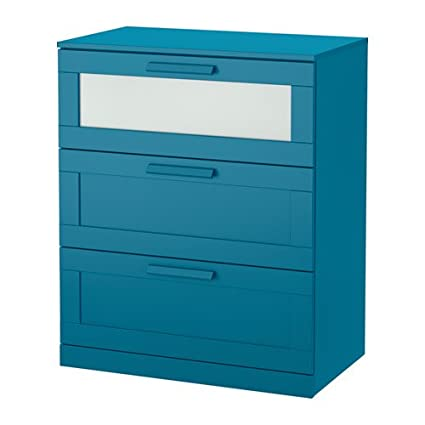 Delightful IKEA BRIMNES 3 Drawer Chest, Dark Green Blue, Frosted Glass Size:
